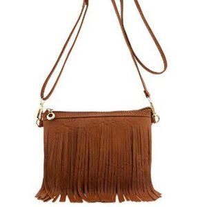NWT Fringe Crossbody Tan Bag with Wrist Strap
